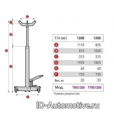 Стойка гидравлическая, двухступенчатая TTRS1200_grey, г/п 1200 кг
