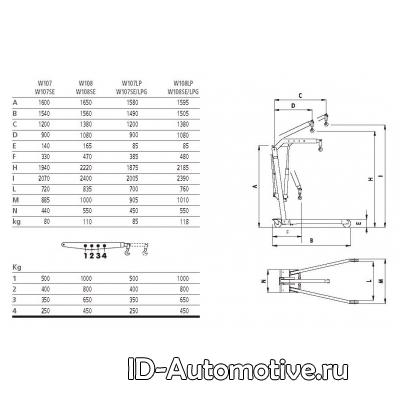 Кран гидравлический W107 (OMA589) складной, г/п 500 кг