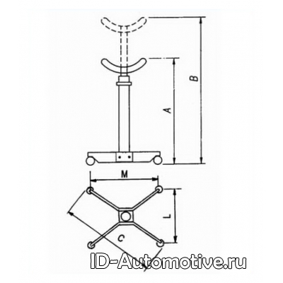 Стойка трансмиссионная двухступенчатая Werther W210 (OMA610) г/п 800 кг
