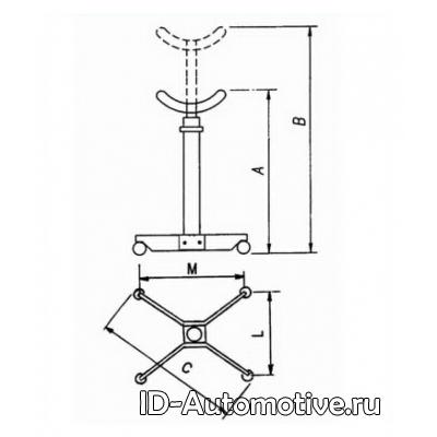 Стойка трансмиссионная Werther W109 (OMA604) серая, г/п 500 кг