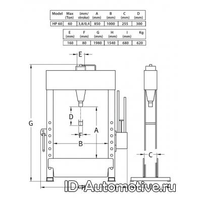 Пресс гидравлический напольный HP60 60 т, с ручным и пневмо приводом