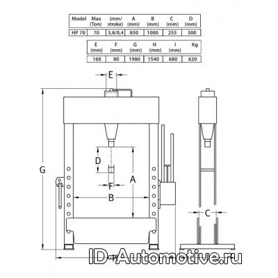 Пресс гидравлический напольный HP70 70 т, с ручным и пневмо приводом