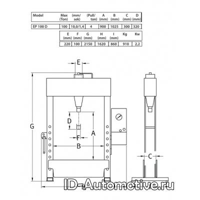 Пресс EP100D электрогидравлический 100 т