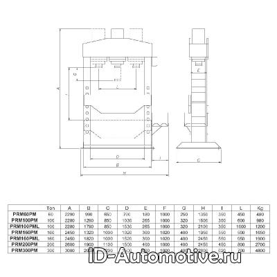 Пресс электрогидравлический Werther PRM300PM, 300 т с подвижным цилиндром